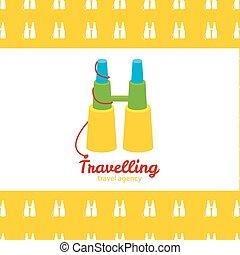 Vector modern bright creative travel company binoculars logo with seamless pattern