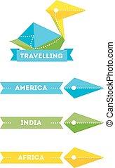Vector modern bright creative travel company bird logo with identity elements