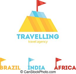 Vector modern bright creative travel company mountain logo with identity elements