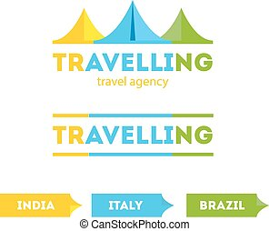Vector modern bright flat travel company tent logo with identity elements