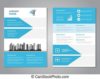 Vector modern brochure, abstract flyer with background of monochrome buildings. Layout template. Aspect Ratio for A4 size. Poster of blue, grey, black and white color. Magazine cover. - illustration