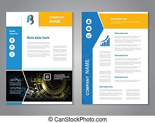 Vector modern brochure with blue yellow design, abstract flyer with technology background. Layout template. Poster with arrow design, Magazine cover.