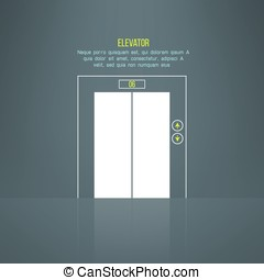 Vector modern building steel elevator with reflection on the floor