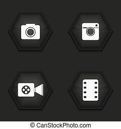 Vector modern camera icons set