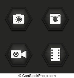 Vector modern camera icons set