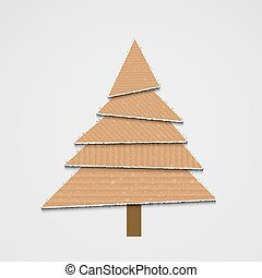 Vector modern cardboard christmas tree background for your design