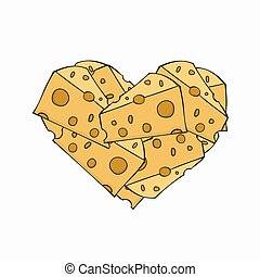 Vector modern cheese in a heart on white