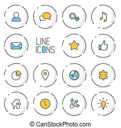 Vector Modern circle thin line icon collection - dual color...