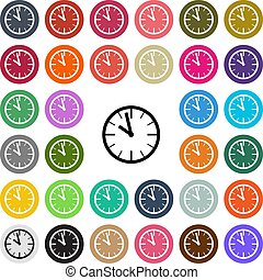 Vector modern Clock flat design icon set in button