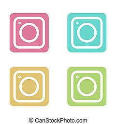 Vector modern colorful flat camera app set for smartphone isolated on white background.