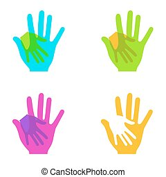 Vector modern colorful hands holding set on white