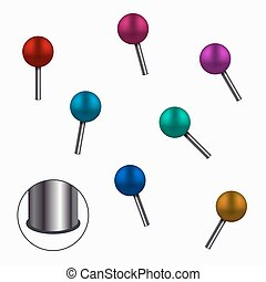 Vector modern colorful pins set on white