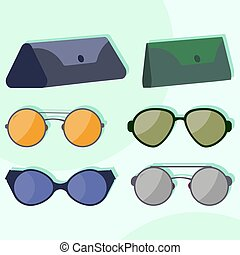 Vector modern colorful sunglasses and cases