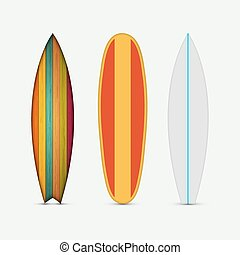 Vector modern colorful surfboard set