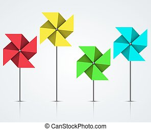 Vector modern colorful windmill set