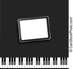 Vector modern computer tablet on piano.