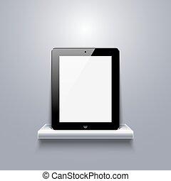 vector modern computer tablet on shelf.