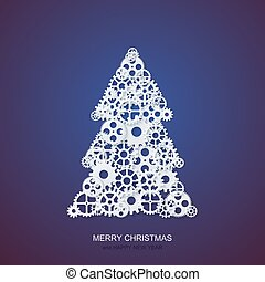 Vector modern concept christmas tree and mechanism gears background. Invitation of xmas or happy new year.