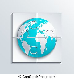 Vector modern concept puzzle and world.
