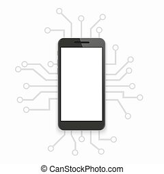 vector modern concept smartphone with circuit board on white