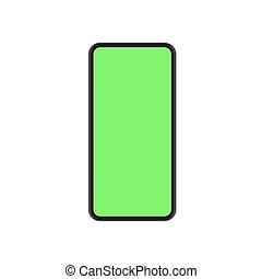 Vector modern concept smartphone with green screen on white background.