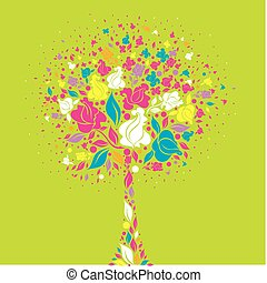 tree symbol from colorful flowers