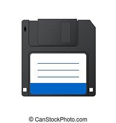 Vector modern diskette on white background.