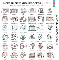 Vector Modern education e learning process color line outline icons for apps and web design. Modern education process icons.