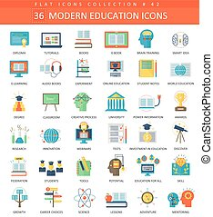 Vector Modern education flat icon set. Elegant style design.