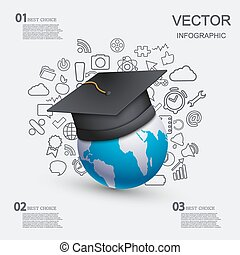vector modern education infographic background.