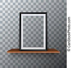 Vector modern empty frame standing on a wooden shelf