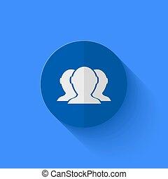 Vector modern flat blue circle icon.