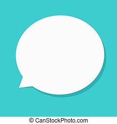 Vector modern flat bubble speech on blue background. ...