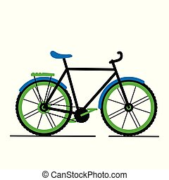 Vector modern flat cartoon bicycle isolated on white background