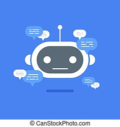 Vector modern flat chat bot with speech bubble icons on blue background.