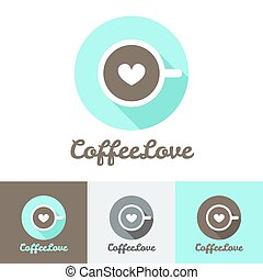 Vector modern flat coffee shop or cafe logo