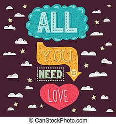 Vector modern flat design hipster illustration with phrase All you need is love