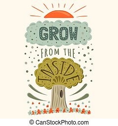 Vector modern hand drawn hipster illustration with phrase Grow from the inside
