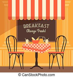 Vector modern flat design illustration of street cafe.