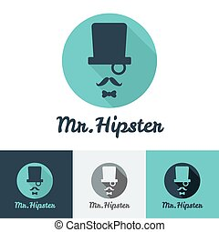 Vector modern flat hipster face logo set for clothes shop or...