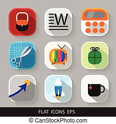 Vector modern flat icons set. Eps 10