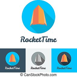 Vector modern flat rocket minimalistic logo