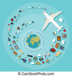 Vector modern flat style concept for tourism industry. -...