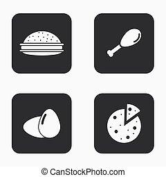 Vector modern food icons set