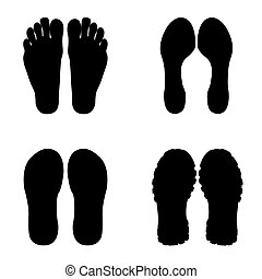 vector modern footprint set on white