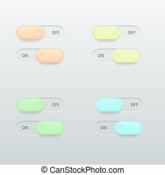Vector modern glossy colorful on off switch set