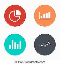 Vector modern graph colorful icons set