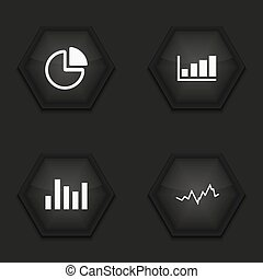 Vector modern graph icons set