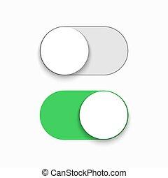 Vector modern green slider button on white background.