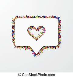 Vector modern heart with confetti on white